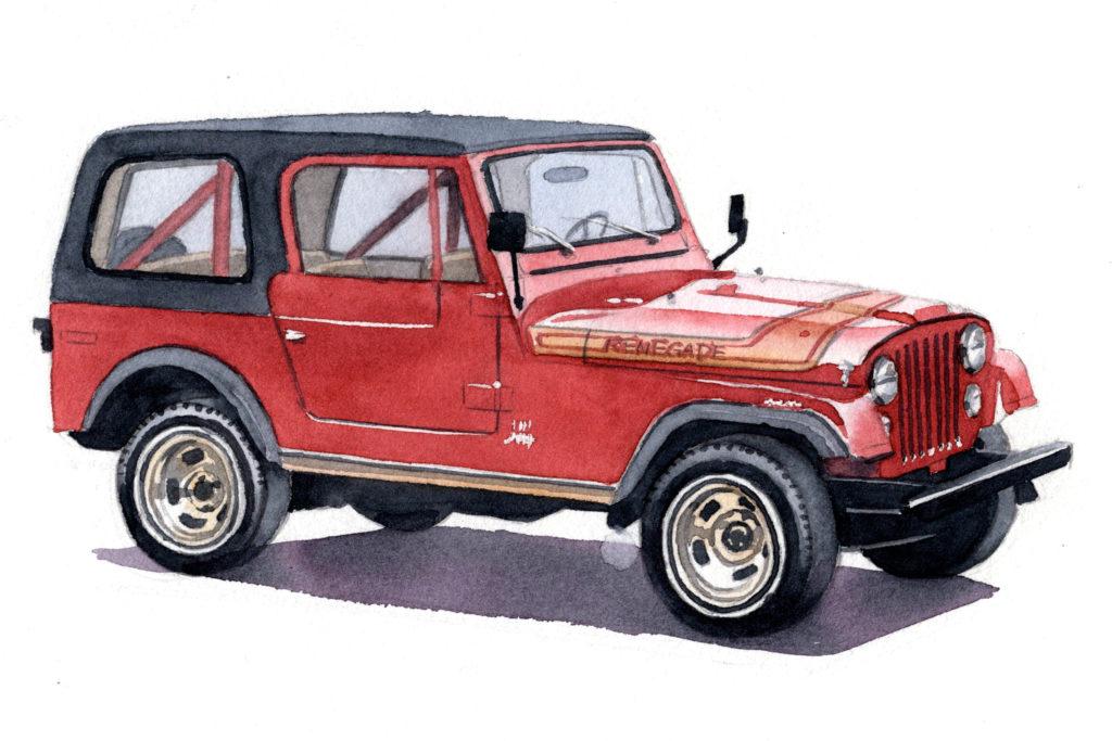 JEEP ジープ CJ-7 水彩車イラスト