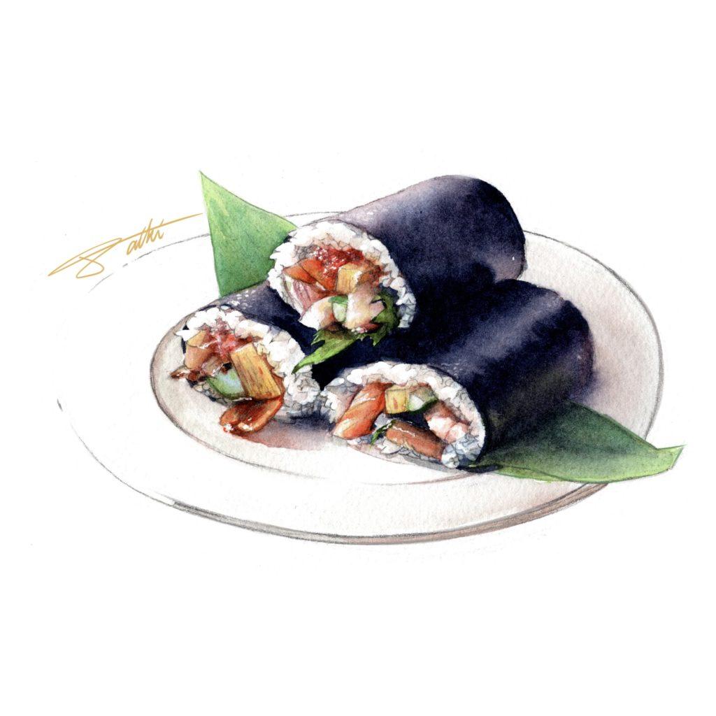 節分 恵方巻イラスト 水彩食べ物イラスト