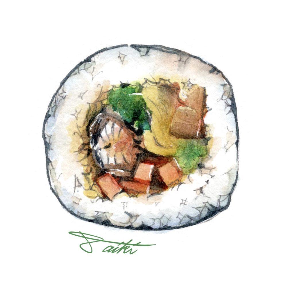 節分 恵方巻断面イラスト 水彩食べ物イラスト