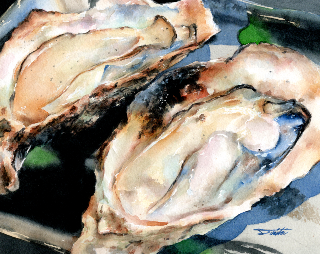宮島牡蠣屋 牡蠣 水彩食べ物イラスト 殻にこもろう