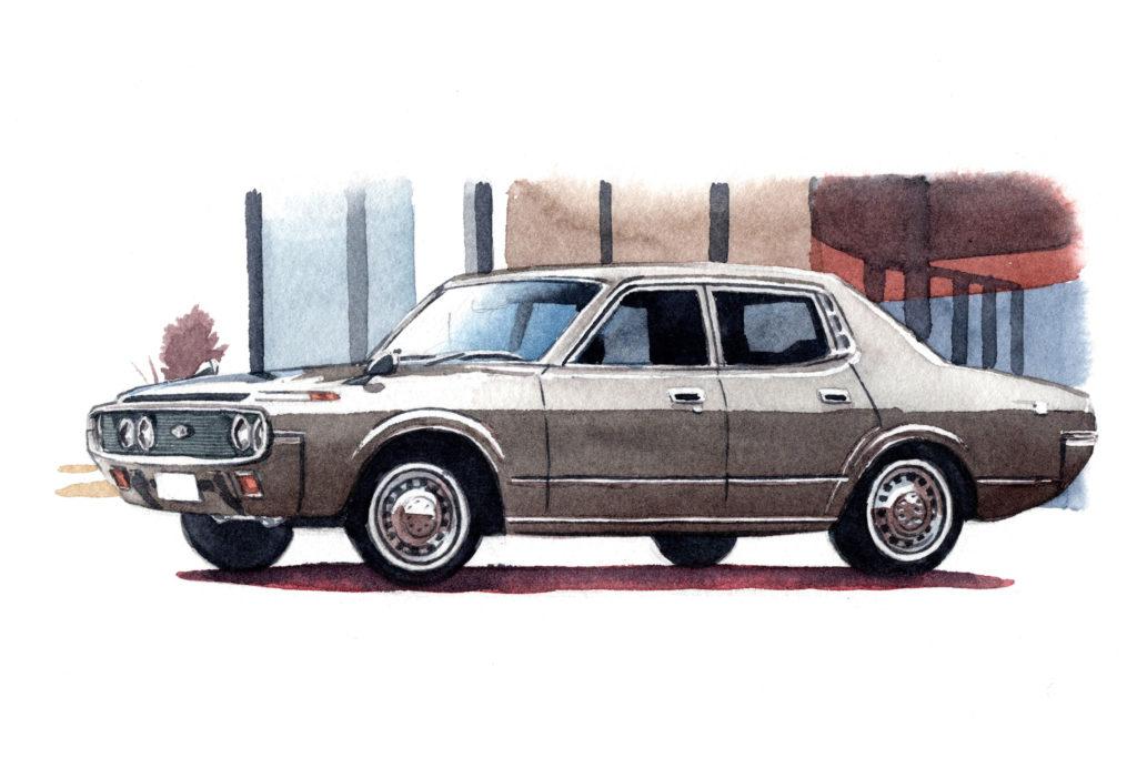 トヨタ 4代目クラウン 水彩車イラスト