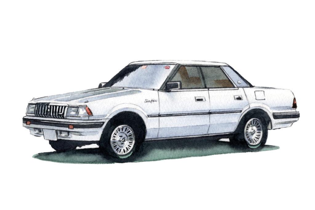 トヨタ 7代目クラウン 水彩車イラスト