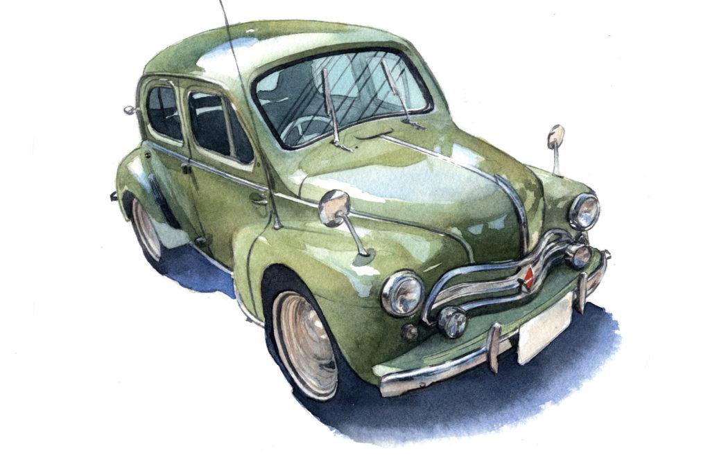 ルノー ルノー4CV 水彩車イラスト