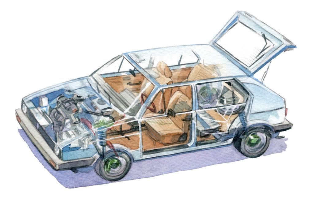 フォルクスワーゲン ゴルフ透視図 水彩車イラスト