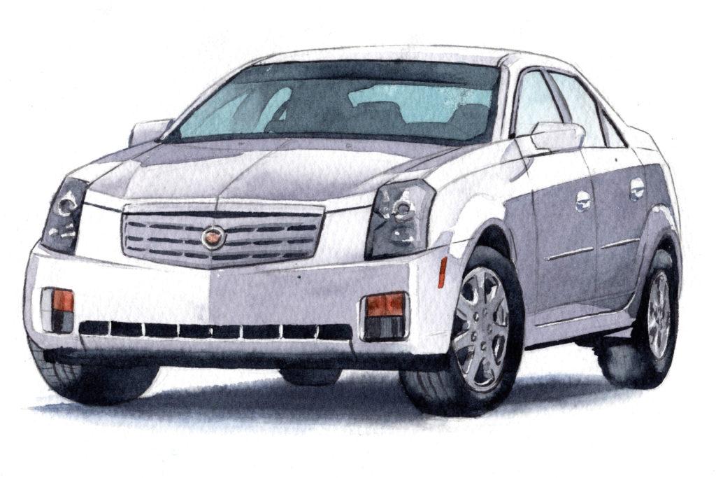 キャデラックCTS初代 水彩車イラスト