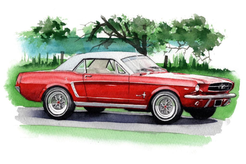 フォード 初代マスタング 水彩車イラスト