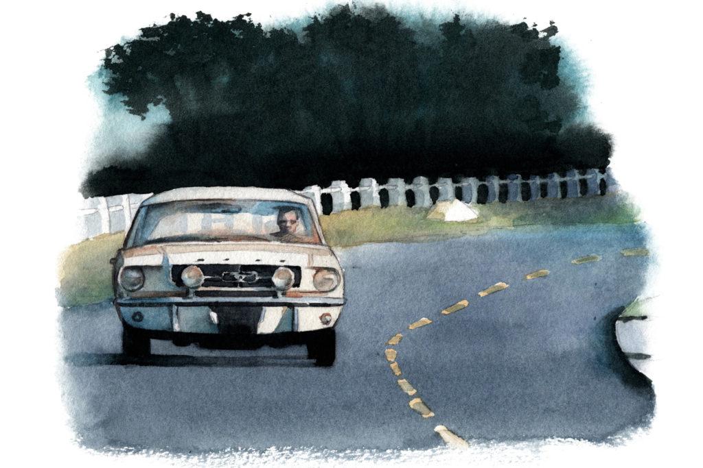 フォード マスタング 映画『男と女』 水彩車イラスト