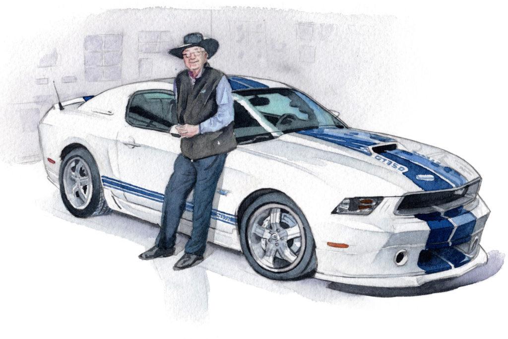 フォード 6代目マスタングとキャロル・シェルビー 水彩車イラスト