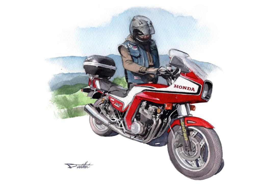 HONDA CB750F 単車倶楽部連載 水彩バイクイラスト