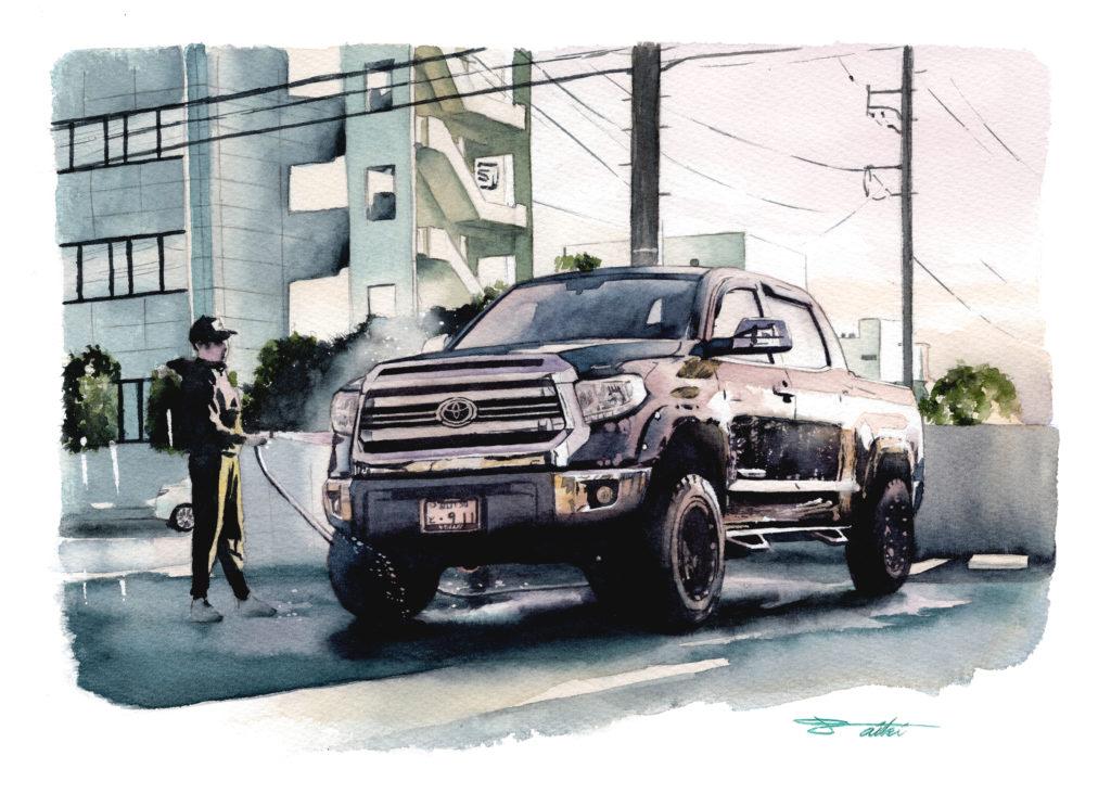 トヨタ タンドラ 水彩車イラスト