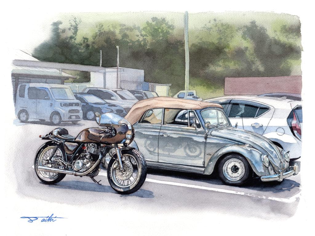 YAMAHA SR400 カフェレーサー & フォルクスワーゲン ビートル 水彩バイク車イラスト