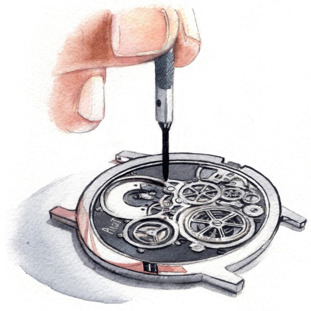 ピアジェ 水彩時計イラスト