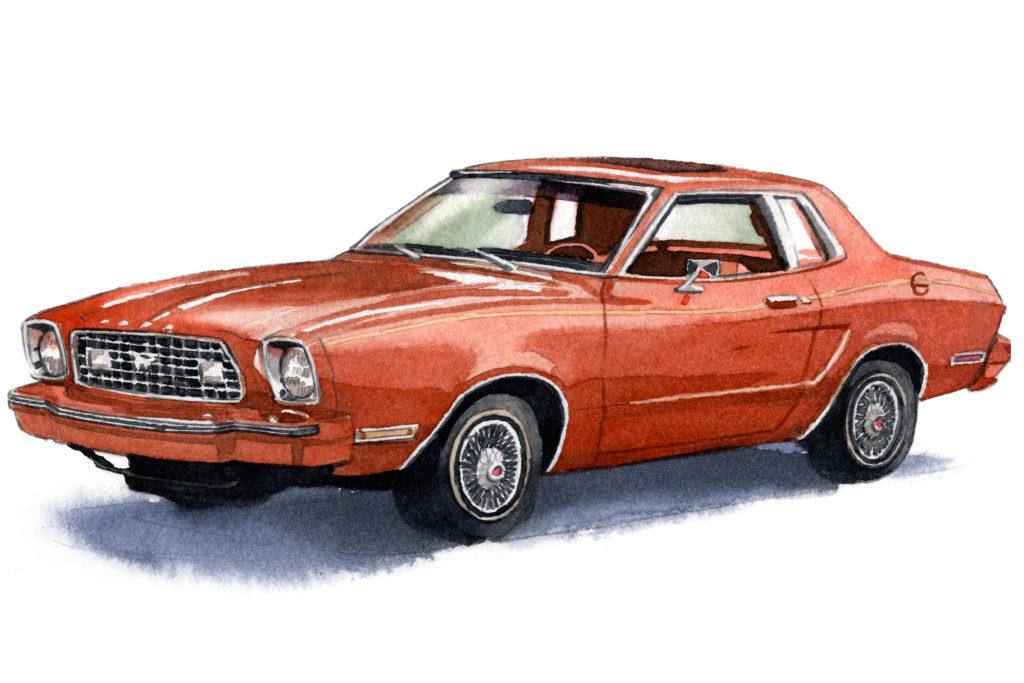 フォード マスタングⅡクーペ 水彩車イラスト