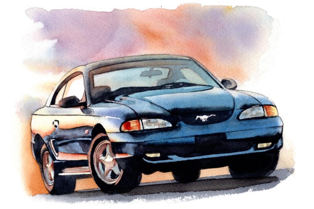 フォード 5代目マスタング 水彩車イラスト