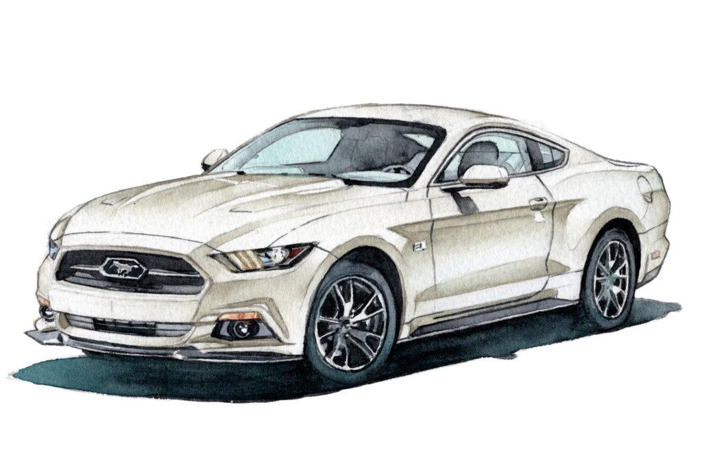 フォード 7代目マスタング 水彩車イラスト
