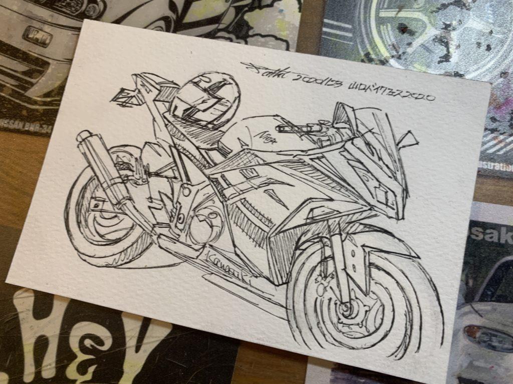山口バイクフェス2020水彩バイクイラスト