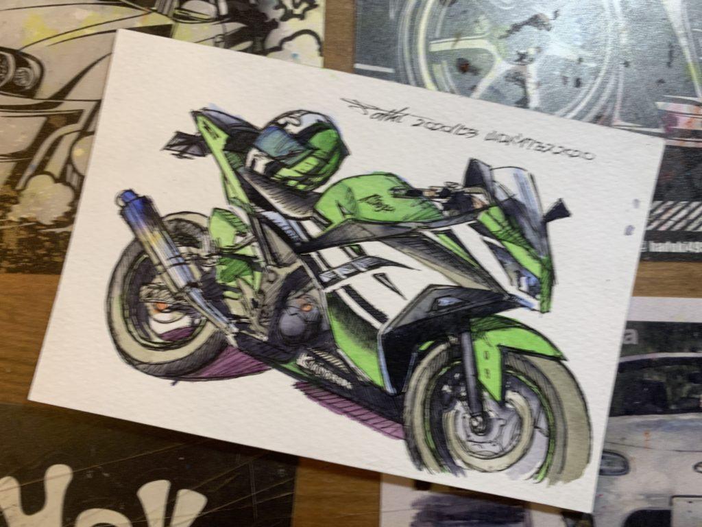山口バイクフェス2020水彩バイクイラスト イベント限定
