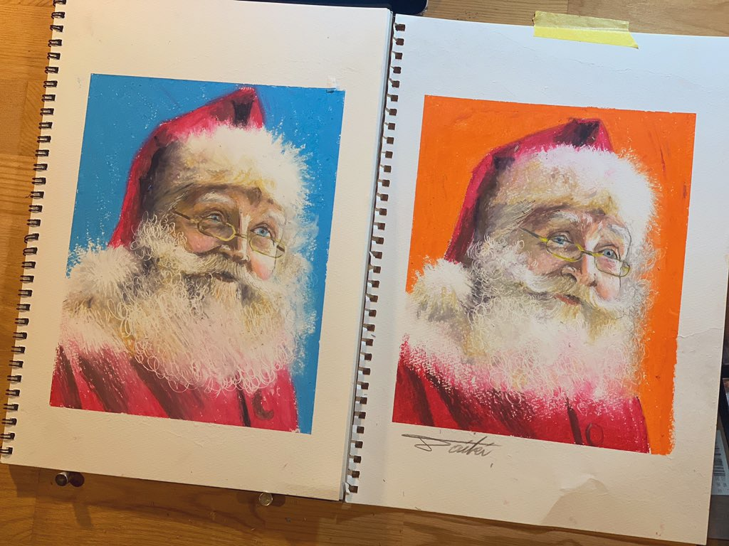 オンライン絵画教室 サンタウロースオイルパステル画 お絵描きポケット