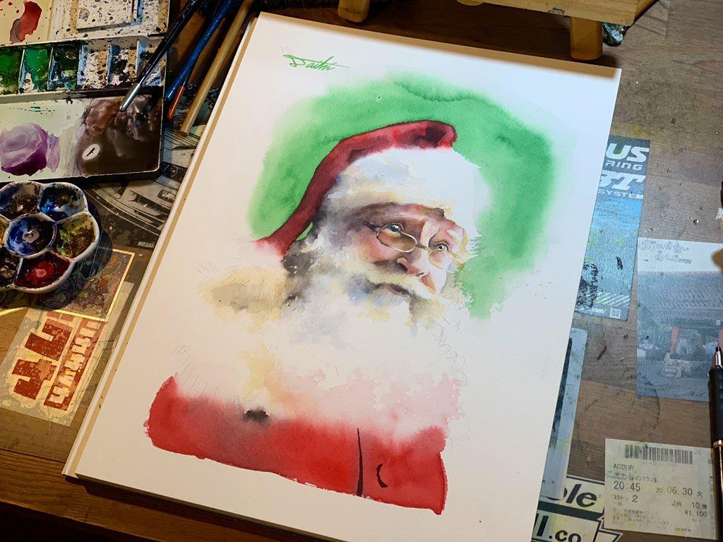 オンライン絵画教室 サンタウロース水彩画 お絵描きポケット
