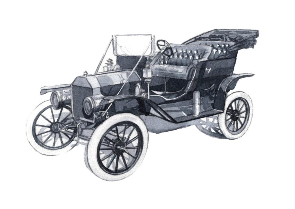 フォードT型 水彩車イラスト