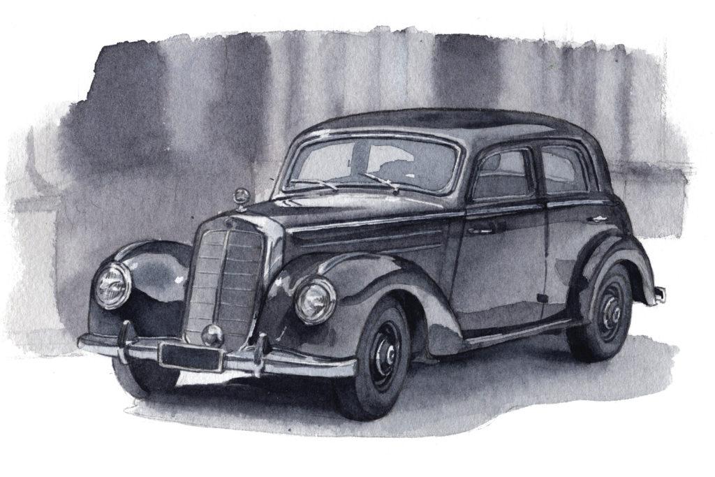 ベンツ タイプ220 W187 水彩車イラスト