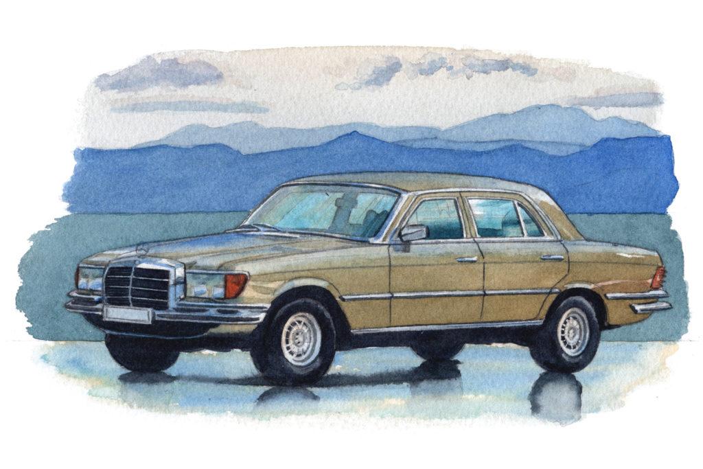 ベンツ初代Sクラス W116 水彩車イラスト
