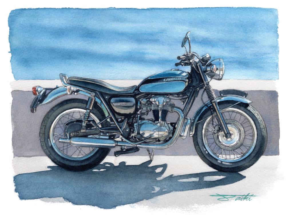 Kawasaki W650 水彩バイクイラスト