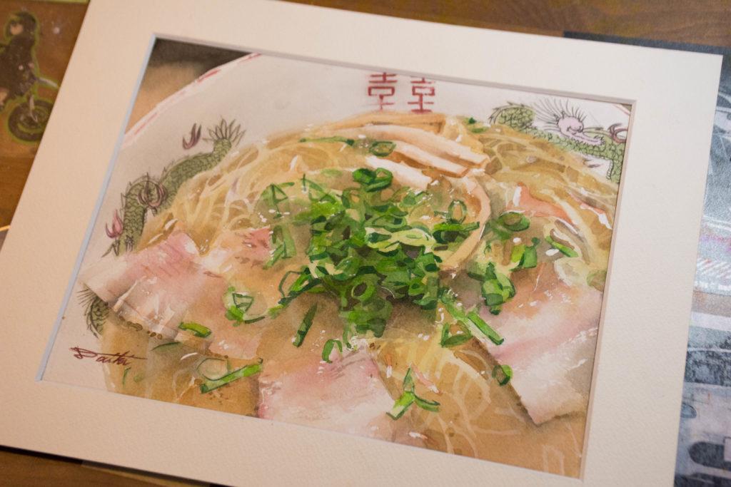 山口県周南市ラーメン屋 ラーメンイラスト 水彩食べ物イラスト