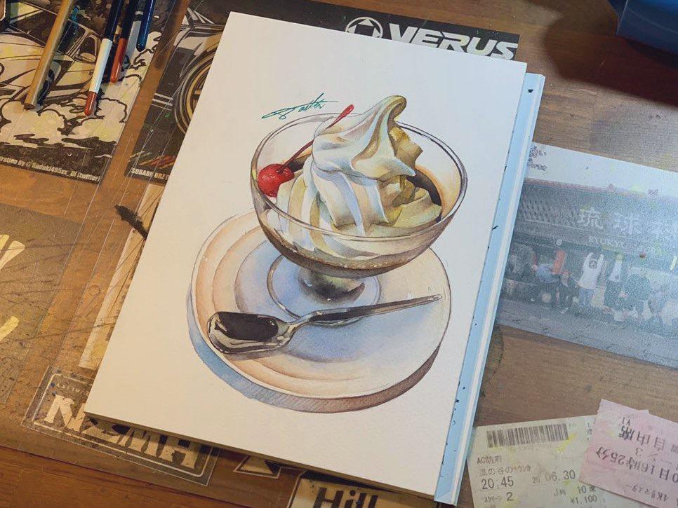 コーヒーゼリーイラスト 水彩食べ物イラスト