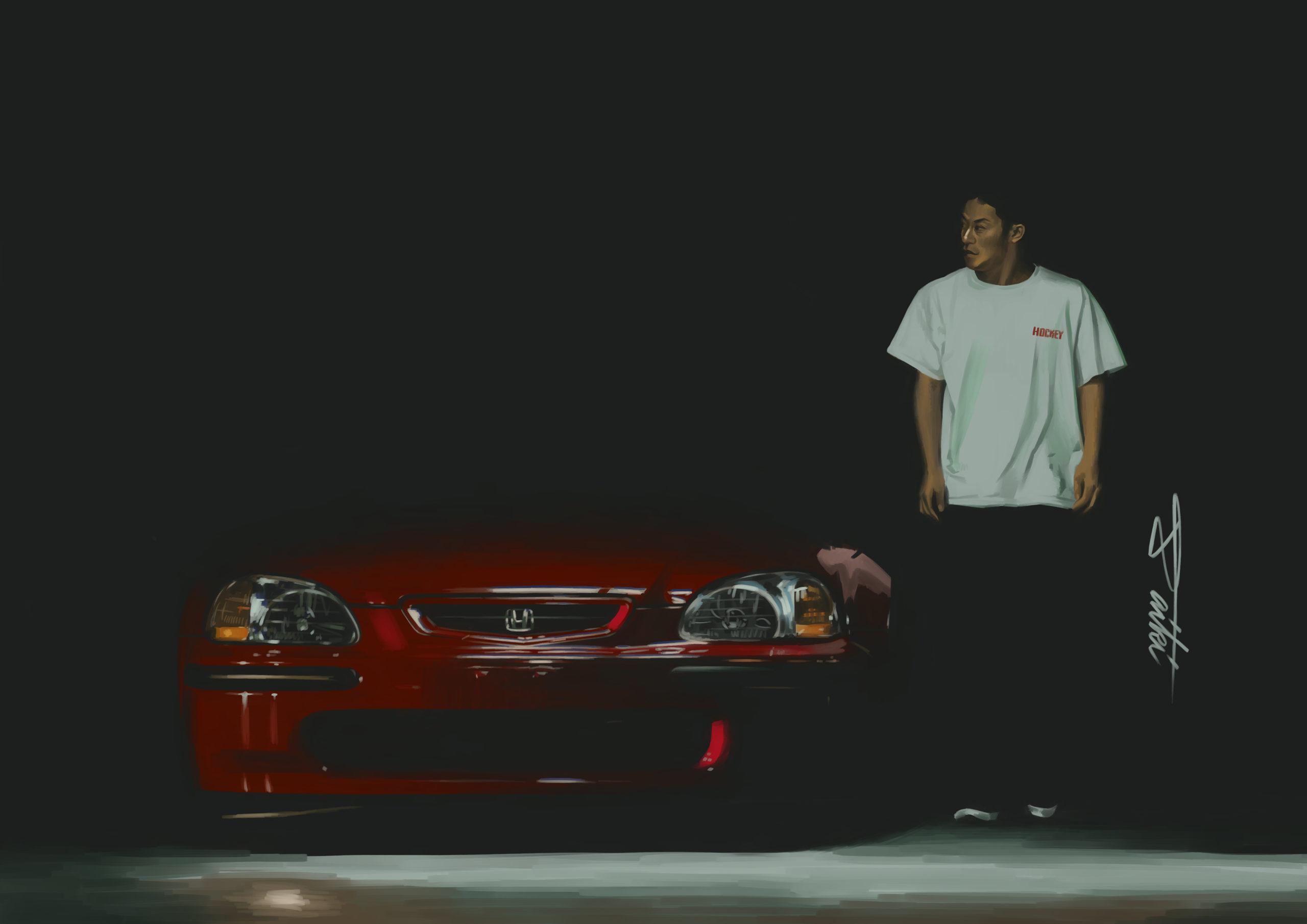 HONDA シビックek4 車イラスト