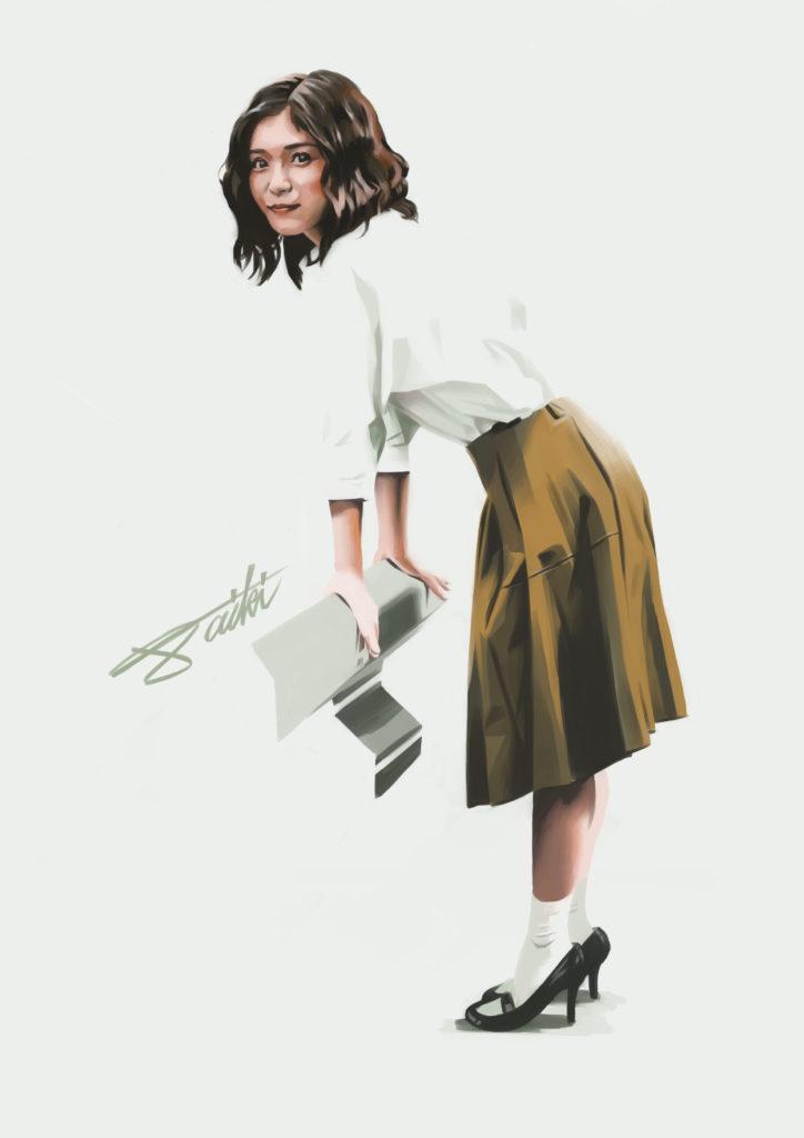 松岡茉優 女の子人物イラスト