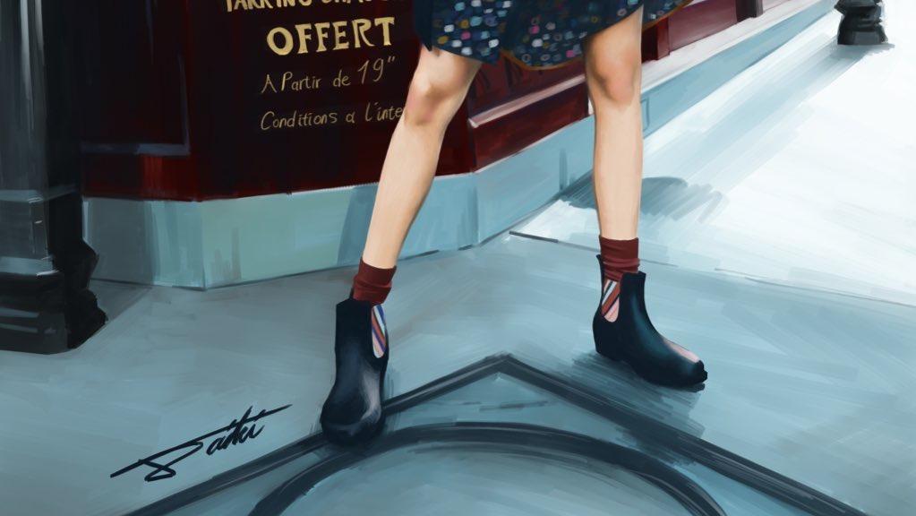 女の子 ブーツ女子 人物イラスト
