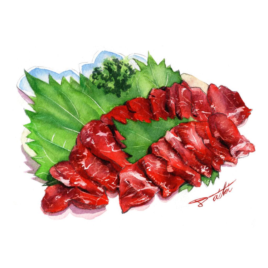 肉の日 馬刺し 水彩食べ物イラスト