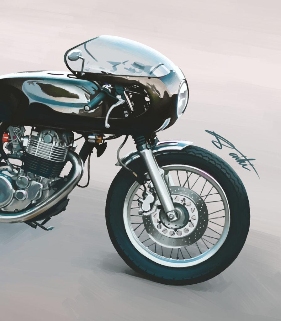 YAMAHA SR400 カフェレーサー バイクイラスト