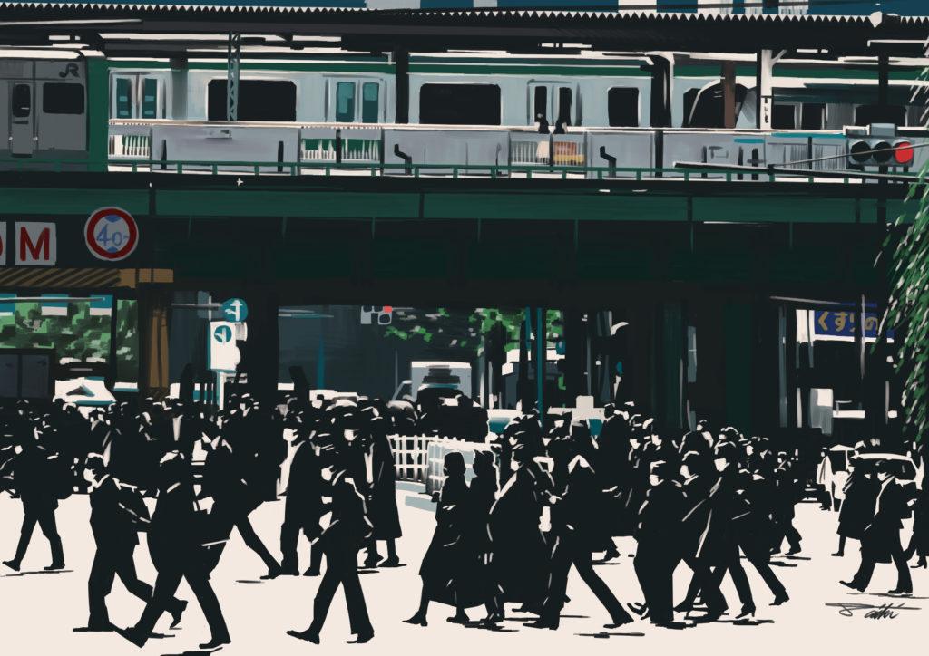 3度目の緊急事態宣言発令後、初の平日の朝に出勤する人たち=東京都港区のJR新橋駅前 コロナ渦風刺イラスト