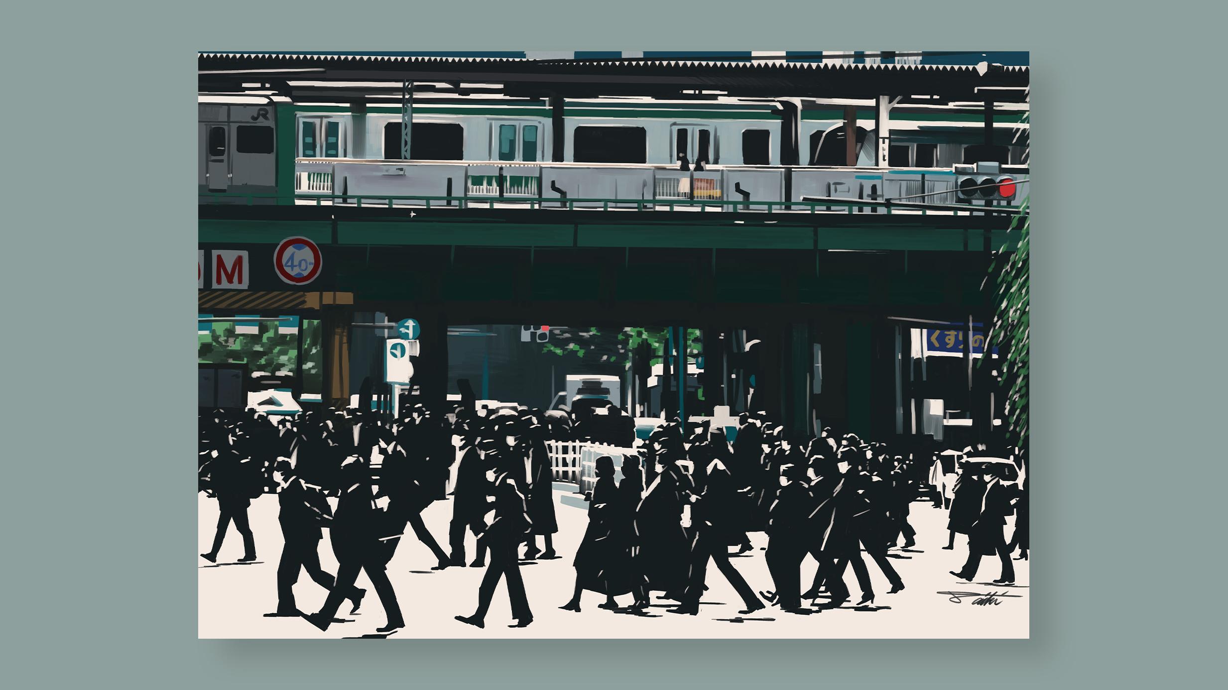 3度目の緊急事態宣言発令後、初の平日の朝に出勤する人たち=東京都港区のJR新橋駅前 コロナ禍風刺イラスト