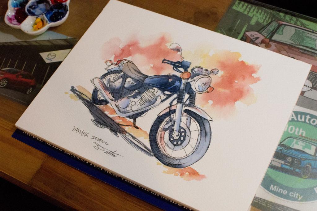 SR400バイクイラスト名刺デザイン