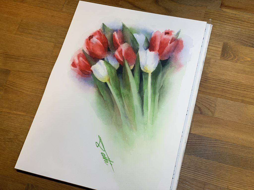 オンライン絵画教室 チューリップ 透明水彩 お絵描きポケット
