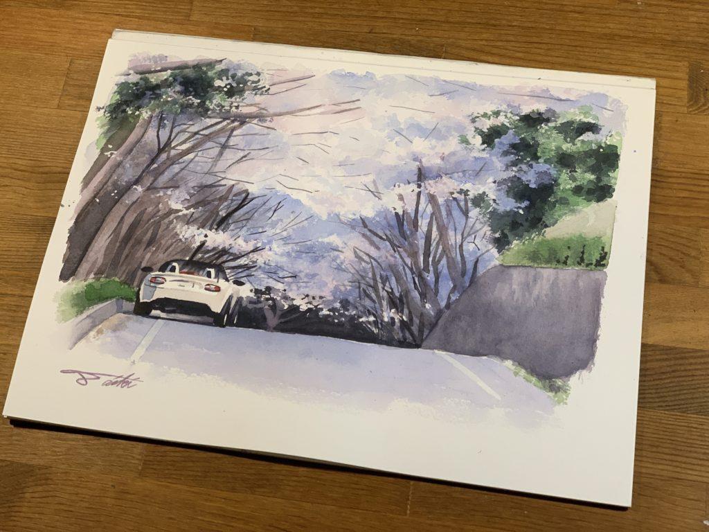 オンライン絵画教室 桜 透明水彩 お絵描きポケット