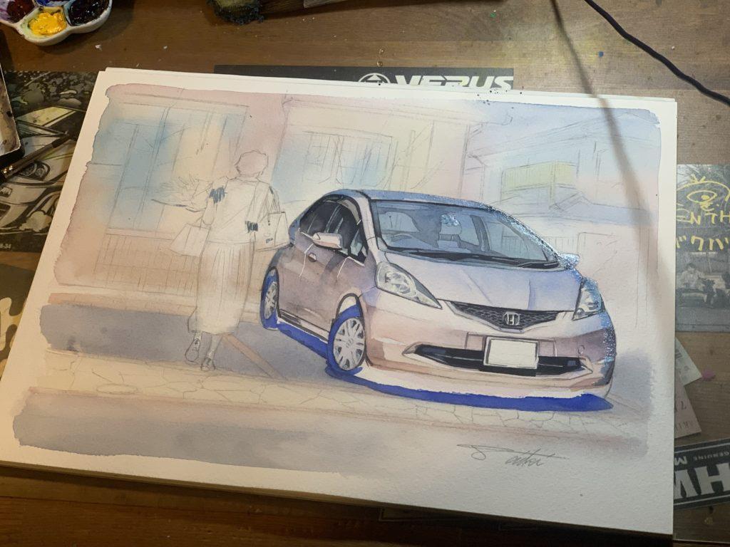 HONDA FIT 愛車イラストオーダー 水彩車イラスト