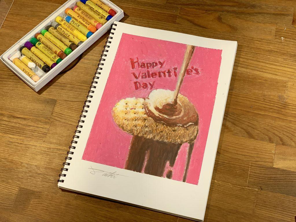オンライン絵画教室 バレンタインイラスト クレヨン画 お絵描きポケット
