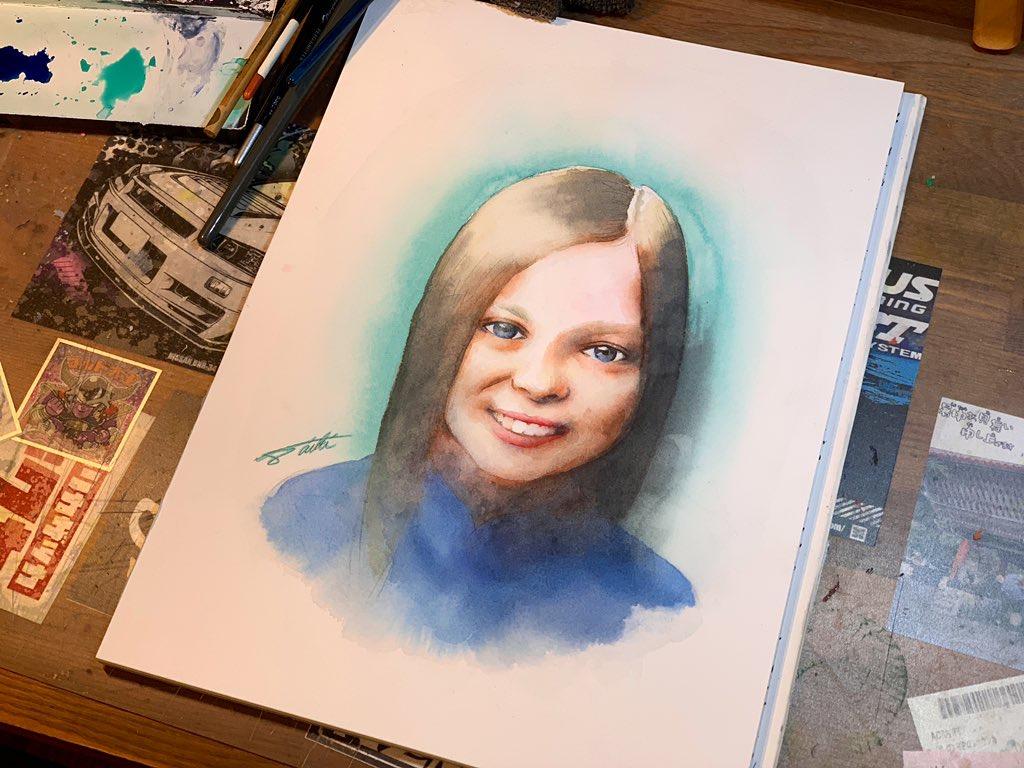 オンライン絵画教室 少女 透明水彩 お絵描きポケット