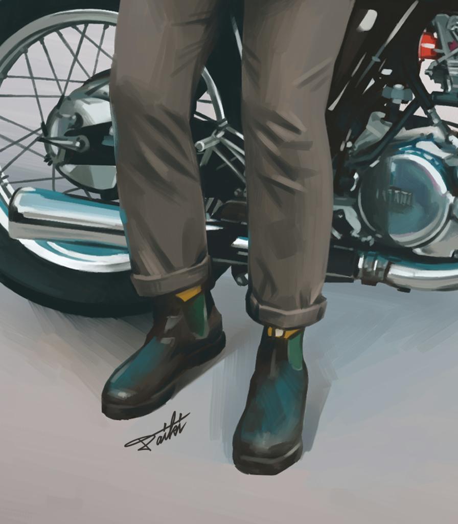 スーツ 足元 ブーツ 人物イラスト