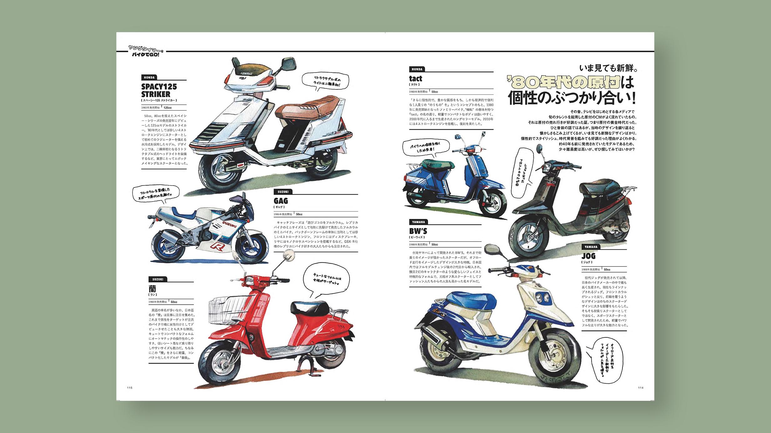 雑誌 2nd(セカンド)vol.172 80年代の原付 水彩バイクイラスト