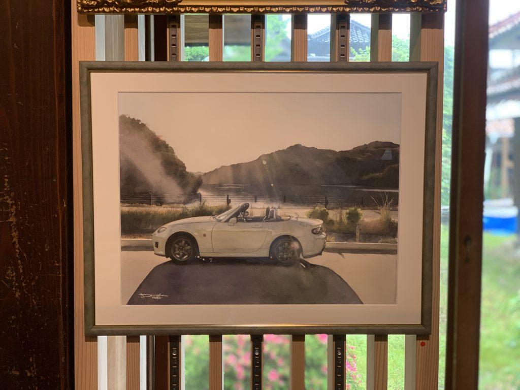 GalleryCAFEとこのま オープニング企画展 とこのま20人展 NCロードスター水彩車イラスト