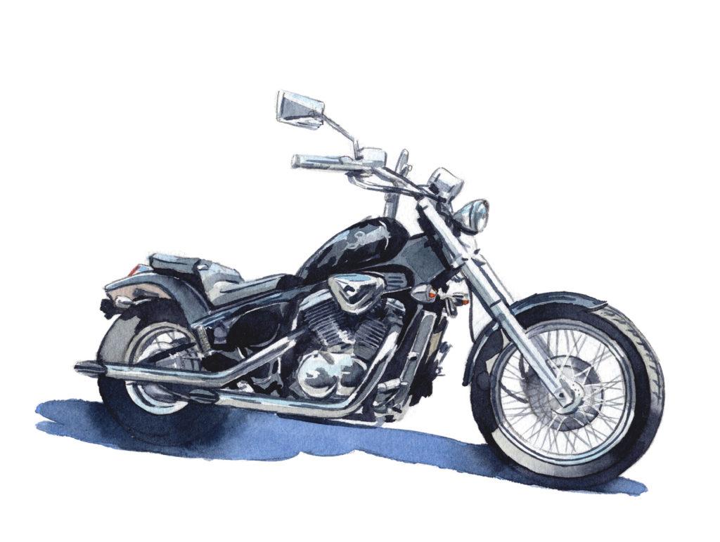 HONDA STEED 水彩バイクイラスト