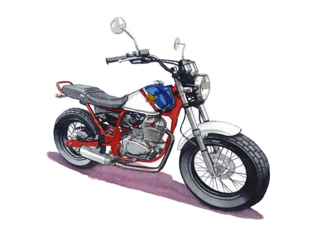 HONDA FTR223 水彩バイクイラスト
