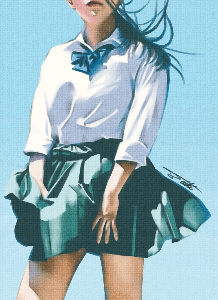 女子高生と夏 デジタル女の子イラスト