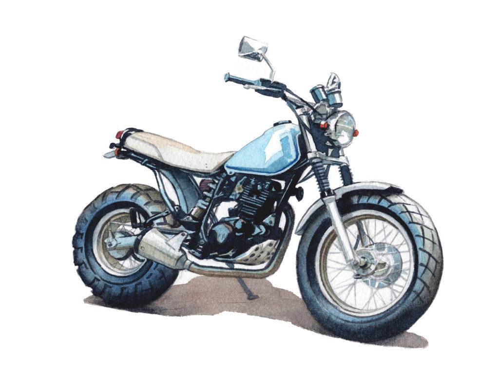 YAMAHA TW200 水彩バイクイラスト